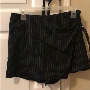 Black and white striped wrap skort
